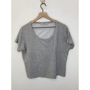 Athleta Scoop-Neck Short Sleeve Solid Tee Gray